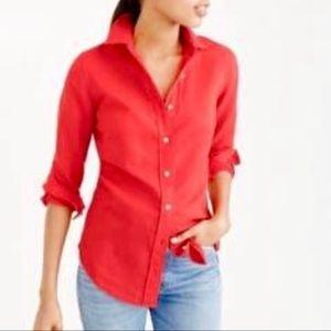 J Crew Orange Linen Shirt